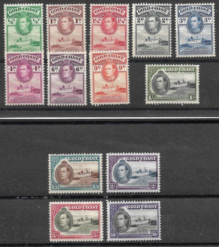 Doyle's_Stamps: 1938-1941 Gold Coast King George VI NH Stamp Set (WL9)