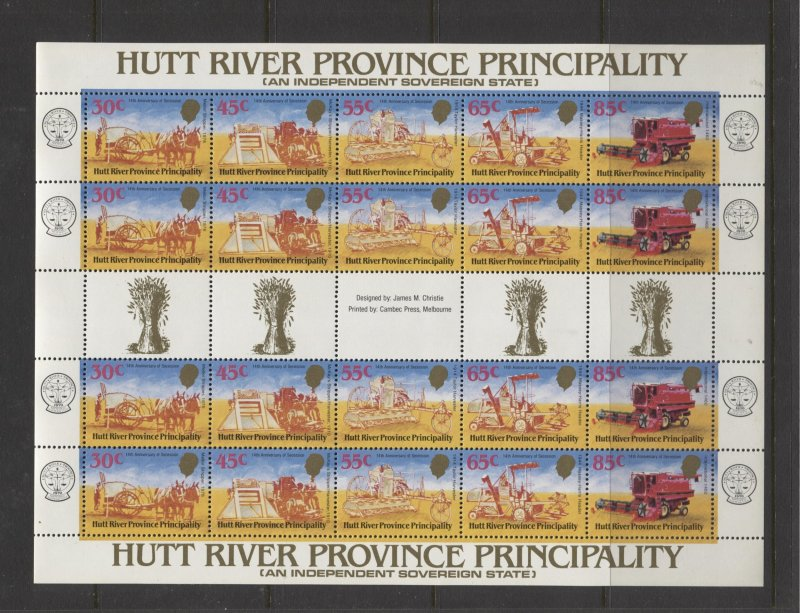 STAMP STATION PERTH Hutt River Province # 15th Anniversary Sheet MNH 1985