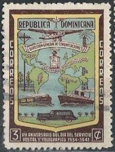 Dominican Republic 381 (used) 3c Post & Telegraph (1942)