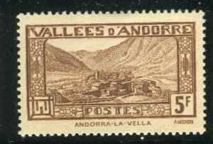 FRENCH ANDORRA; 1932 early Pictorial issue fine Mint hinged 5Fr. value