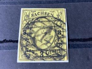 Saxony 1855 Grid Number cancel 14 for Bautzen  Stamp 57194
