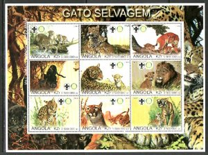 Angola, 2000 Cinderella issue. Wild Cats sheet. Rotary & Scout logos. ^