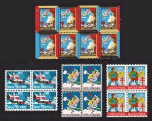 USA 1942, 1943, 1944, & 1945 CHRISTMAS SEALS BLOCKS MNH-OG