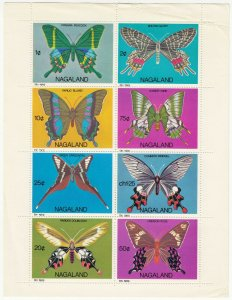 Cinderellas; Nagaland, 1969 India Local. Butterflies, 8 Vals To 50c