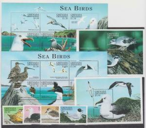 Grenada Grenadines 1998 sea birds set +klb+2s/s MNH