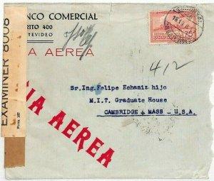URUGUAY Cover WW2 Censored BANK Air Mail 1943 MIT University USA {samwells}DD185