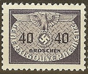 Stamp Germany Poland General Gov't Official Mi 23 Sc NO23 1940 WW2 War Era MH