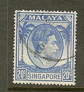 Singapore, Scott #13, 20c King George VI, P18, Used