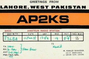 6973 Amateur Radio QSL Card  LAHORE WEST PAKISTAN