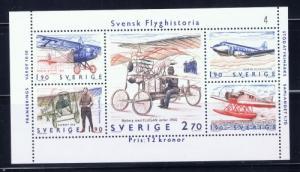 Sweden 1516 NH 1984 mini-sheet of aircraft