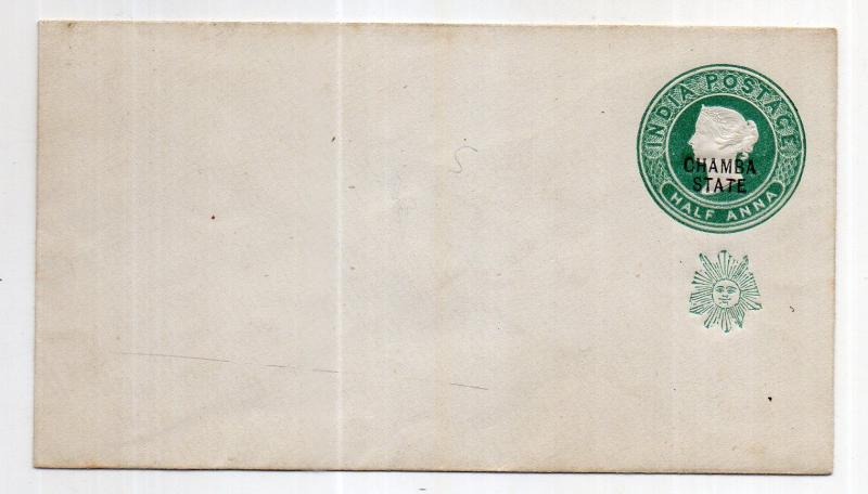 India - CHAMBA STATE 1/2 AS  OVERPRINT  envelope mint WITH MONO UNUSED