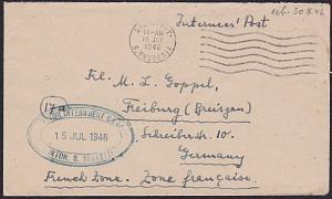 SOUTHERN RHODESIA 1946 cover ex NORTON INTERNMENT CAMP to Germany...........5056