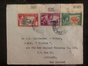 1953 Pitcairn Island Cover To The Shipping Co In Auckland New Zealand B