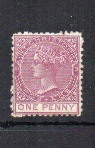 St Kitts-Nevis - St Christopher 1871 1d MLH