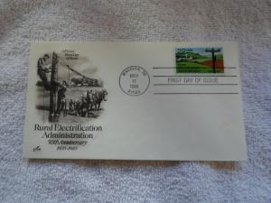 1985 US FDC RURAL ALECTRIFICATION ADM. 50TH ANV. 1935-1985
