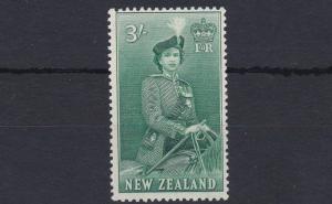 NEW ZEALAND  1953 - 59        S G  734    3/-  BLUISH GREEN     MNH