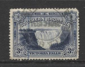 Southern Rhodesia- Scott 32 - Victoria Falls  -1932 - FU - Single 3d Stamp