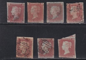 Great Britain # 3, Queen Victoria,  Lot of Seven Used Stamps, 10% Cat.