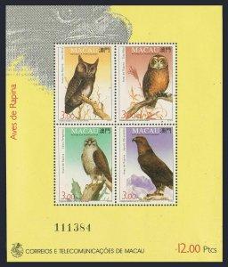 Macao 702b,MNH.Michel Bl.22. Birds 1993.Falcon,Aquila,Asio otus,Owls.