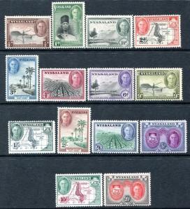 NYASALAND-1945 Set to 20/- Sg  144-157 MOUNTED MINT V25806