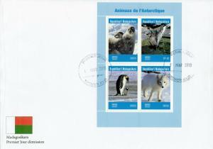 Madagascar 2019 FDC Animals Antarctica 4v M/S Cover Seals Penguins Birds Stamps