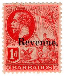 (I.B) Barbados Revenue : Duty Stamp 1d