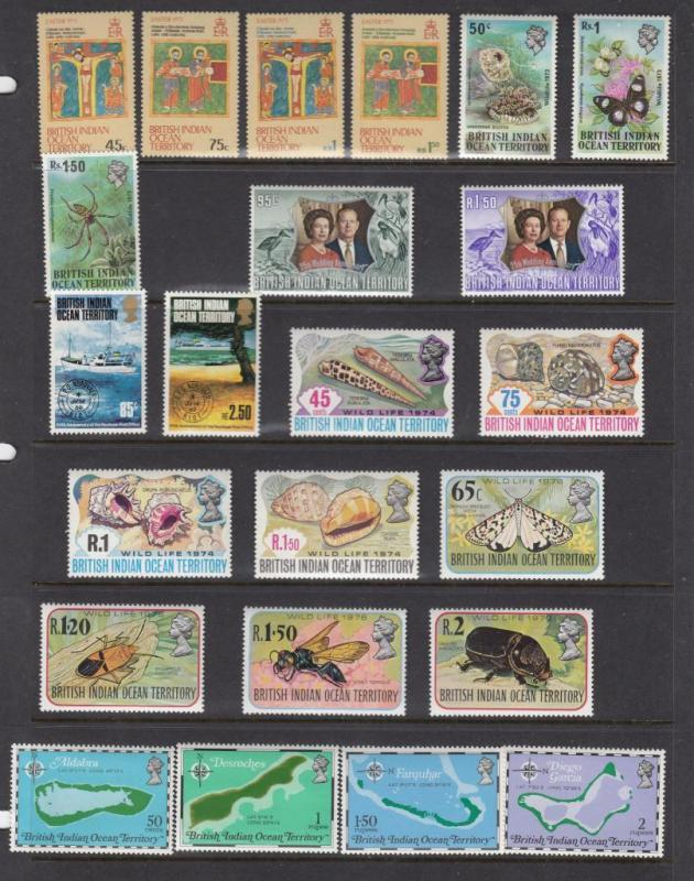 BRITISH INDIAN OCEAN TERRITORY MLH SELECTIONS 7 DIFFERENT SETS