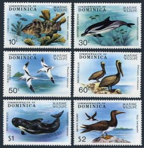 Dominica 618-623,624,MNH.Mi 630-635,Bl.56. Wildlife protection:Fish,Birds,Whale,