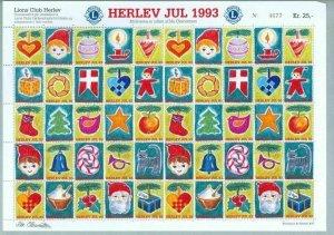 Denmark. Christmas Sheet Mnh 1993. Lions Club. Local Herlev. Santa,Cat,Flag.Bird