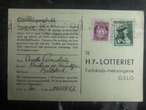 1947 Trondheim Norway H7 Lottery Postcard Cover To Oslo