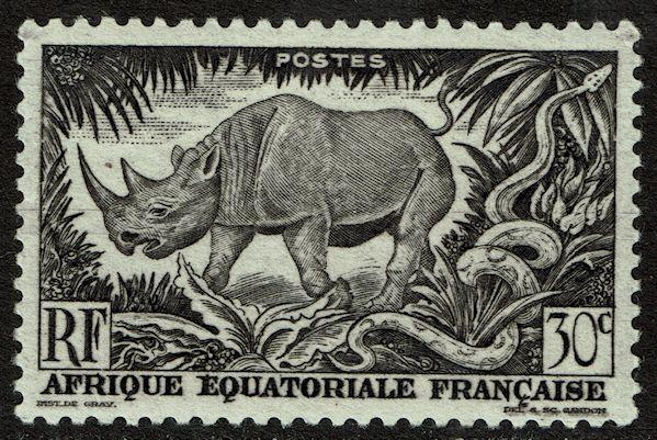 French Equatorial Africa 167 MNH - Wild Animals - Rhinoceros (1946)