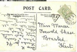 GB Card INSPECTOR MARK Triangular *SE/2* Hants Sub-Office CDS *Hamble* 1906 BD81