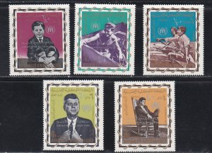 Yemen (Kingdom) M# 381A-385, John F, Kennedy, Surcharged Stamps, Perf, NH