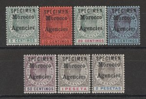 MOROCCO AGENCIES : 1903 KEVII set 5c-2P, SPECIMEN, wmk crown CA.