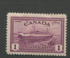 1946 Canada Stamp #273 $1 Mint Hinged VF Original Gum Train Ferry