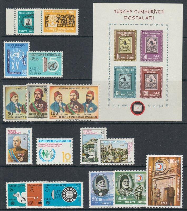 Turkey Sc 1478/B127 MNH. 1960-1979 issues, 9 cplt sets, VF