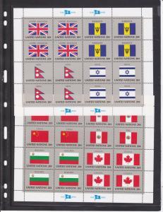 United Nations - New York # 399-415, Flag Sheets, NH, 1/3 Cat