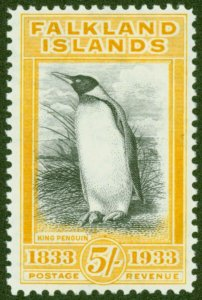 Falkland Islands 1933 5s Black & Yellow-Orange SG136a V.F & Fresh Very Lightl...