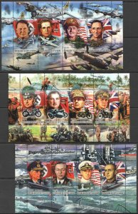 PE1273,1275-1276 2012 IVORY COAST WORLD WAR II LEADERS WWII SWASTIKA 3KB MNH