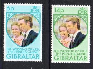 Gibraltar Sc  305-6 1973 Royal Wedding Princess Anne stamp set mint NH