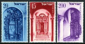 Israel 75-77, MNH. Jewish New Year, 5714. Holy Arks, 1953