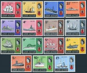 Gibraltar 186-199,191A,MNH.Michel 188-201,224. Ships and Arms of Gibraltar,1967.