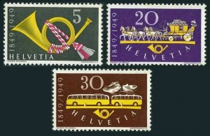 Switzerland 325-327,MNH. Federal Post-100,1949.Post horn,Horse-mail coach,Bus.