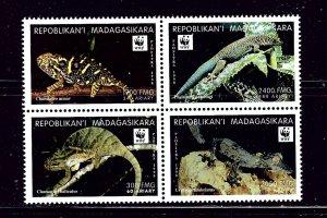 Malagasy 1404f MNH 1999 Lizards (W.W.F.) block of 4