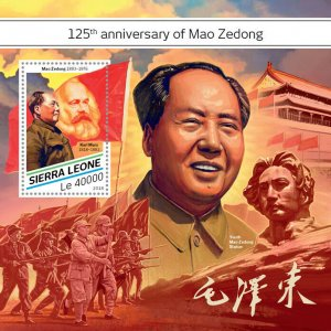 Sierra Leone Mao Zedong Stamps 2018 MNH Tse-Tung Karl Marx People Flags 1v S/S