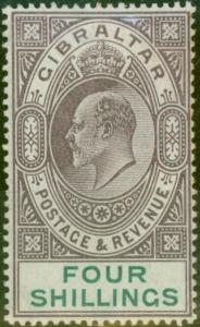 Gibraltar 1903 4s Dull Purple & Green SG53 Fine Mtd Mint (7)