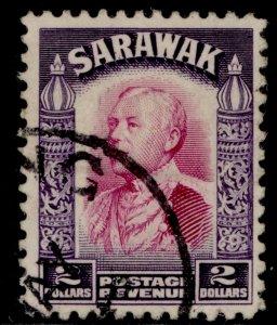 SARAWAK GV SG121, $2 bright purple & violet, FINE USED. Cat £38.