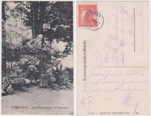 Czechoslovakia 1919 Postcard JOHANNISBAD CDS Photo of Park Statue