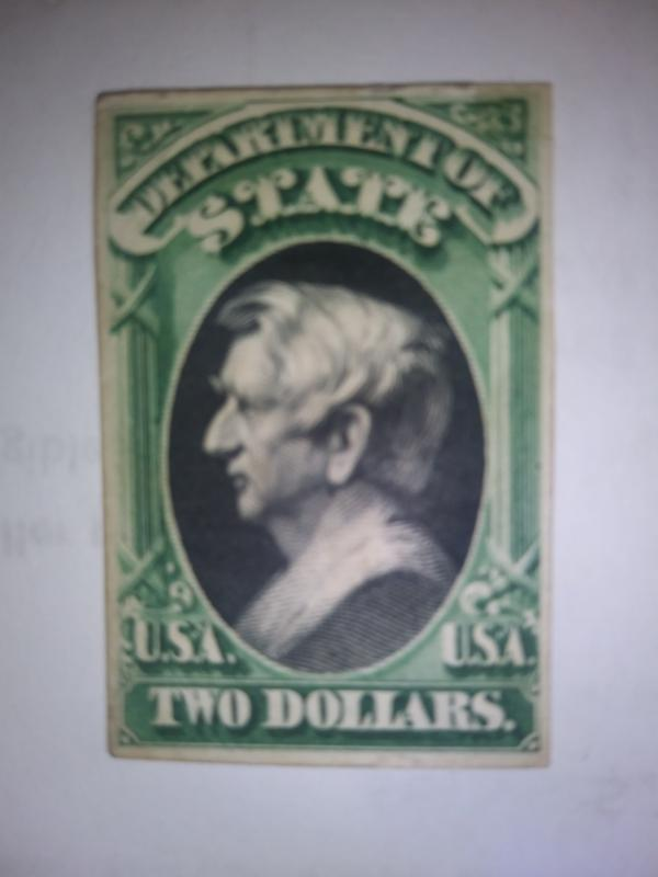 SCOTT # O6844 CARD PROOF TWO DOLLARS DEPARTMENT OF STATE 1873 GEM !!! LAST ONE !