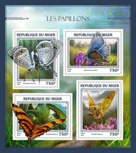 Niger - 2016 Butterflies on Stamps - 4 Stamp Sheet - NIG16404a